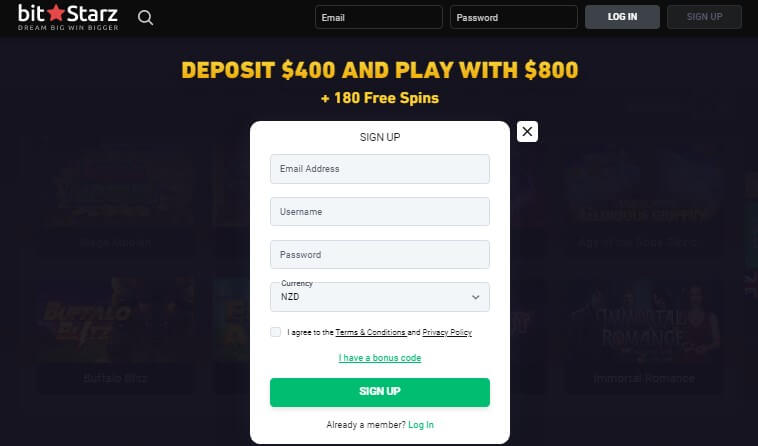 BitStarz casino registration