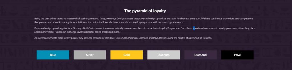 mummysgold casino loyalty program