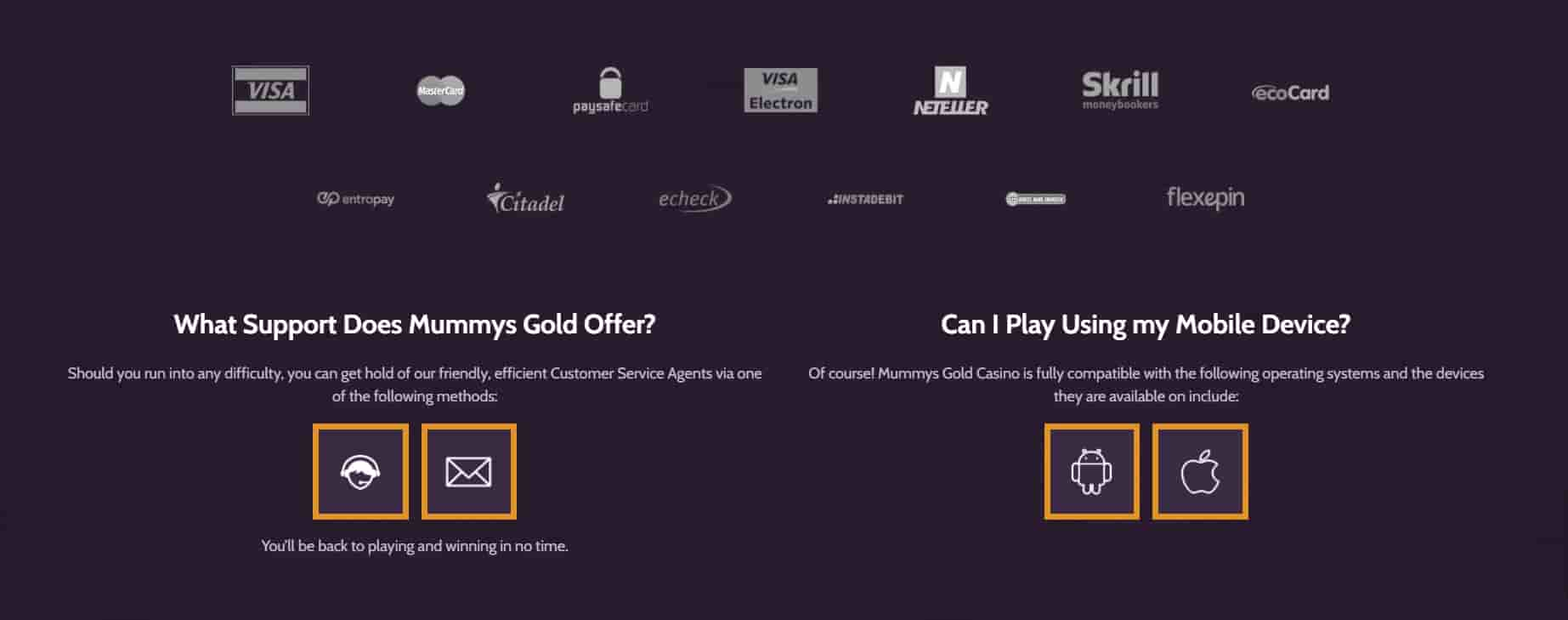 Mummys Gold Casino deposits